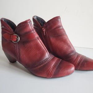 Pikolinos red ankle booties with low stacked heel